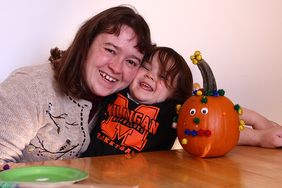 Pumpkin Decoration Sheri, Hannah and the Pom-Pom Pumpkin