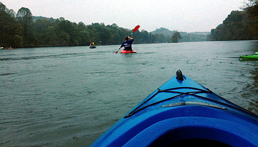 kayaking in the rain on Fort Patrick Henry Lake