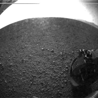 First image from the Curiosity on the surface of Mars.